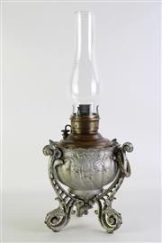 Sale 8860 - Lot 20 - A Vintage Kerosene Lamp with Spelter Base (H 52cm)