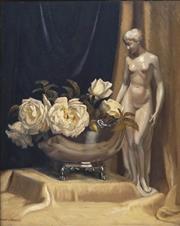 Sale 8916 - Lot 566 - Albert Sherman (1882 - 1971) - Still Life, Whites Roses and Figurine 48 x 38 cm