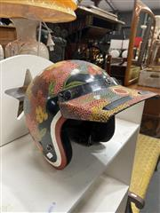 Sale 9072 - Lot 2096 - Kevin Wirri Bush Berry Leaves acrylic on scooter helmet