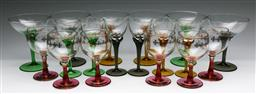 Sale 9173 - Lot 10 - Three suites of coloured glassware inc twisted stem and gilt decorated examples (H:14.5cm,14.5cm and 13cm)