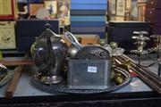 Sale 8327 - Lot 99 - Silver Plated Tray with Other Metal Wares Incl Miniature Salt & Peppers