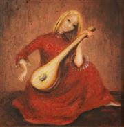 Sale 8606 - Lot 503 - Yvonne Francart - Girl with Mandolin 23 x 22.5cm