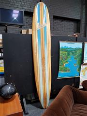 Sale 8684 - Lot 1004 - Farrelly Ultra Light Long Board, Rippling to Rails