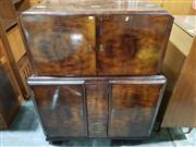 Sale 8765 - Lot 1016 - Impressively Fitted Art Deco Drinks Cabinet with Drop Front and Mirrored Interior