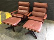 Sale 9022 - Lot 1094 - Pair of Teak Framed Tessa Lounge Chairs with Ottomans