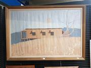 Sale 9019 - Lot 2015 - Australian school - The hilltop farmhouse 60 x 90cm