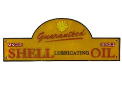 Sale 9093A - Lot 5096 - Shell Oil Sold Here Cast Iron Gate Sign (reproduction) h.16.5 x l.16.5cm