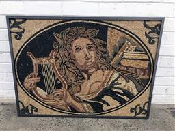 Sale 9126 - Lot 1047 - Good Probably Italian Mosaic Panel, of Apollo with lyre within an oval cameo, in a rectangular metal frame (73 x 99cm)