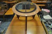 Sale 8364 - Lot 1051 - G-Plan Oval Atmos Teak Coffee Table with Glass Top