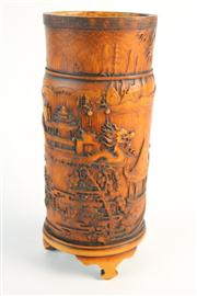 Sale 8432 - Lot 18 - Bamboo Carved Vessel