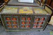 Sale 8460 - Lot 1099 - Indian Painted Cabinet Chest, with various scenes from the life of Vishnu & Lakshmi, having three panelled doors