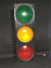 Sale 8579 - Lot 93 - A working traffic signal set with power cable, H 102cm,