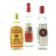 Sale 8553W - Lot 73 - 3x White Spirits - Gordons Gin, Old Lions Gin & No.12 Ouzo