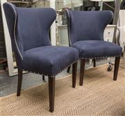 Sale 8709 - Lot 1023 - A pair of Verellen blue linen upholstered and studded curved back occasional chairs, height of back 96cm, W x 74cm, D x 70cm