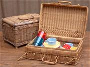Sale 8984H - Lot 88 - Two cane picnic baskets with some contents. Width of larger 42cm