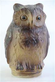 Sale 8994 - Lot 48 - Glass owl form container top with crew fit base