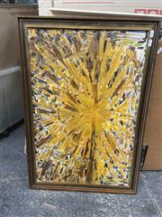 Sale 9091 - Lot 2094 - A retro painting a starburst, frame: 55 x 80 cm,