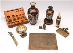 Sale 9104 - Lot 49 - A collection of wares inc brass plaque, cloisonne vases - damaged - lighter, cased scale weights and letter opener
