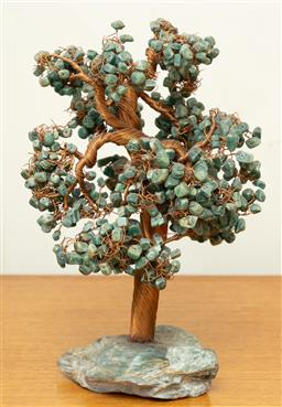 Sale 9164H - Lot 44 - A green stone copper wired tree on verdite stone base, Height 30cm