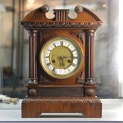Sale 8369 - Lot 15 - Timber Cased Mantle Clock with Pendulum, Key & Provenance