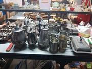 Sale 8582 - Lot 2472 - Silverplated Tankards & Teapots, Steins etc