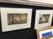 Sale 8674 - Lot 2066 - 2 Works: Ernest Abbott (1888 - 1973)  River Gums; Grey Gums, drypoint etchings nos. 55 & 16, 16 x 29cm; 19x 28cm, each signed lower