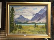 Sale 8767 - Lot 2021 - John Ryning - Mountain Views and Lake 1983, oil on canvas, frame size: 44.5 x 55.5cm