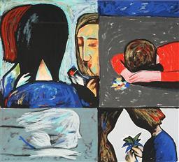 Sale 9080A - Lot 5026 - Charles Blackman (1928 - 2018) - Quartette 49 x 55 cm (frame: 99 x 83 x 3 cm)