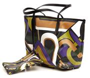 Sale 9090F - Lot 79 - A EMILIO PUCCI TOTE;  interior leashed zipped pouch, dual flat handle straps, black leather trim, black nylon lining and open top.