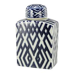 Sale 9140F - Lot 41 - A rectangular lidded jar crafted from durable Porcelain, glazed in a soft white and deep blue geometric pattern. Dimensions: W13.5 x...