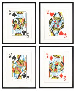 Sale 8620A - Lot 37 - A set of four glicee prints of playing cards representing the four suits, each total size with frame 66 x 54cm