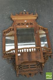 Sale 8390 - Lot 1259 - SE Asian Carved Wall Shelf w Mirror