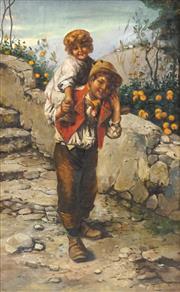 Sale 8449A - Lot 567 - Pietro Toretti (1888 - 1927) - Siblings 80 x 48cm