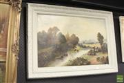 Sale 8468 - Lot 2064 - English School (XX) - Cottage by the River 49.5 x 75cm