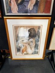 Sale 8678 - Lot 2037 - Fiona Rowett - Seated Nude, 1997, charcoal and pastel, 101 x 80cm (frame size), signed and dated lower right
