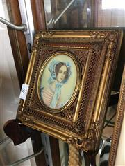 Sale 8730B - Lot 38 - Ornate Metal & Ivory Framed Handpainted Miniature depicting a Lady L:16cm