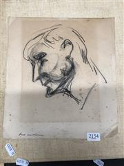 Sale 8789 - Lot 2154 - Artist Unknown, Mans Head, Charcoal Sketch, Signed LL -