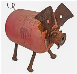 Sale 9093A - Lot 5093 - Junk Sculpture - Pink Pig 40 x 46 cm
