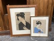 Sale 9091 - Lot 2093 - A Pair of Japanese handcoloured prints of geishas, frame: 62 x 56 cm