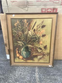 Sale 9111 - Lot 2091 - A retro still Life print by Pierre Mass, frame: 74 x 63 cm