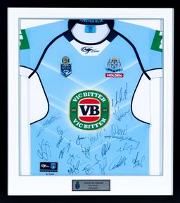 Sale 9130S - Lot 82 - A pair of State of Origin Game 2, 2016 signed Blues Jersey Frame Size 96.5cm x 87cm Front and Back