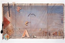 Sale 9134H - Lot 98 - Tim Storrier (1949 - ) - Flag for the Timed Essentials, 1980 101 x 151.5 cm