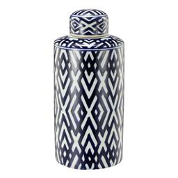 Sale 9140F - Lot 42 - A cylindrical lidded jar crafted from durable Porcelain, glazed in a soft white and deep blue geometric pattern. Dimensions: W15.5 x...