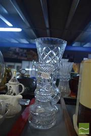 Sale 8306 - Lot 27 - Large Crystal Flower Vase with a Smaller Mallet Shaped Example