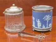 Sale 8470H - Lot 60 - A Wedgwood blue jasperware and EP ice bucket, missing lid and handle, together with a vintage lidded glass example, larger 20cm