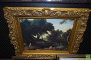 Sale 8509 - Lot 2058 - Gilt Framed Picture-Paysage ay Baigneuses After Laurent De La Hyre