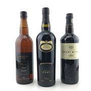 Sale 8611W - Lot 46 - 3x Fortified Wines - Brown Brothers VO Port, Grant Burge Aged Tawny & Fosters Shareholders Reserve Fino Sherry