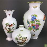 Sale 8649 - Lot 64 - Herend Queen Victoria Pattern Vase & Others (3)