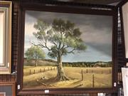 Sale 8767 - Lot 2023 - Country Landscape Painting by a unknown artist, acrylic on board, frame size 57x 67cm, signed lower right