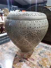 Sale 8826 - Lot 1076 - Pierced Moroccan Metal Lidded Basket (H: 58 D: 57cm)